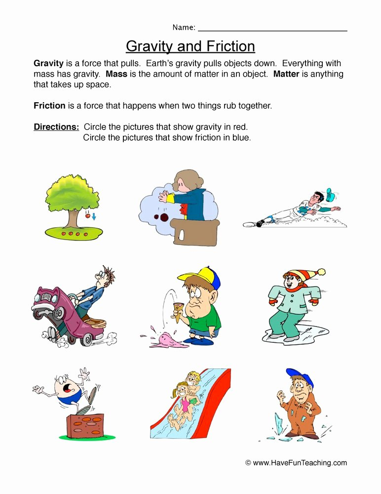 Friction and Gravity Worksheet Beautiful force Worksheet Gravity or Friction