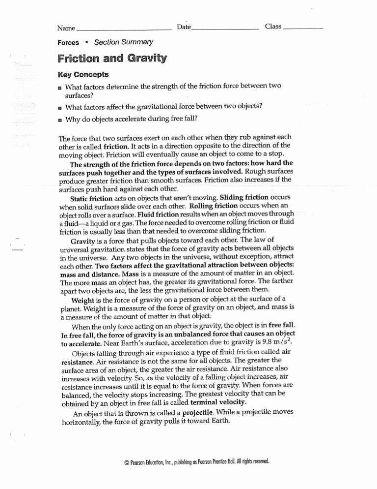 Friction and Gravity Worksheet Best Of Friction Worksheet