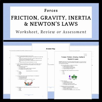 Friction and Gravity Worksheet Fresh forces Friction Gravity Inertia & Newton S Laws