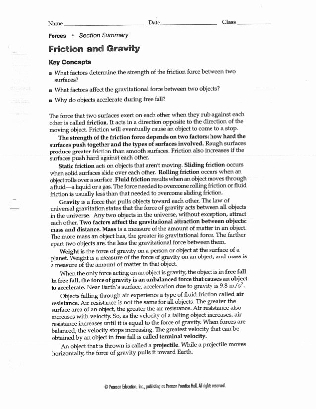 Friction and Gravity Worksheet Lovely Friction and Gravity Worksheet