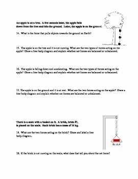 Friction and Gravity Worksheet Lovely Types Of forces Gravity Friction Applied normal force