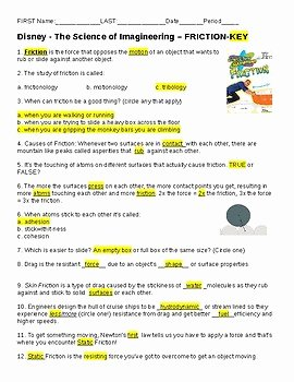Friction and Gravity Worksheet Lovely Video Worksheet Disney Imagineering Friction by