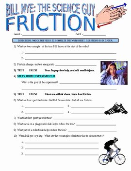 Friction and Gravity Worksheet Unique Bill Nye the Science Guy Friction forces & Motion Video