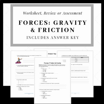 Friction and Gravity Worksheet Unique Friction and Gravity Test or Worksheet by that Red Haired