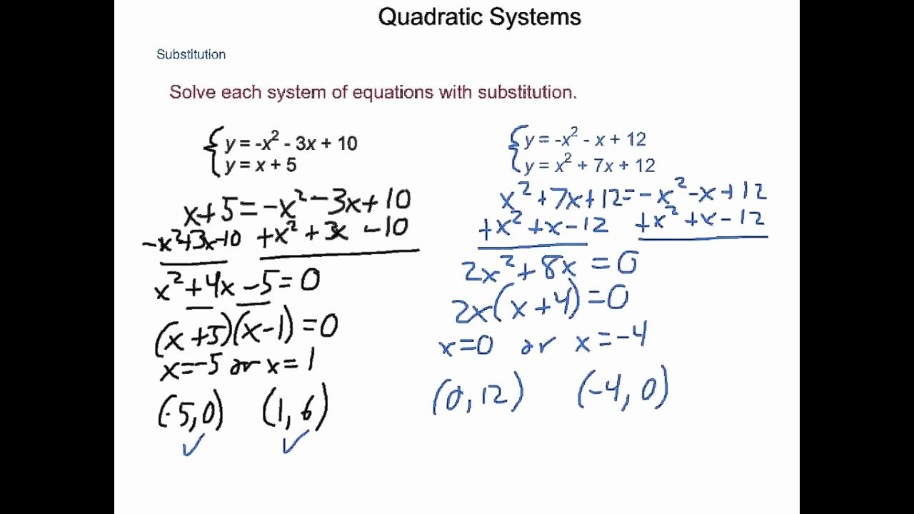 From Linear to Quadratic Worksheet Best Of Algebra2 4 9 Quadratic Systems