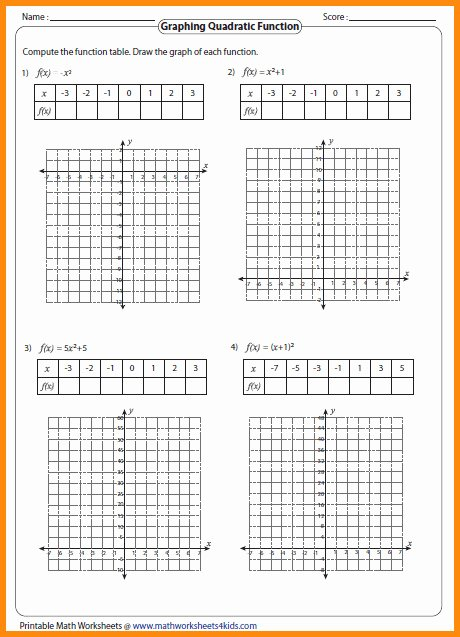 From Linear to Quadratic Worksheet Fresh Graphing Quadratic Functions Worksheet