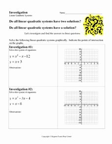 From Linear to Quadratic Worksheet Inspirational Investigation Linear Quadratic Systems 9th 12th Grade