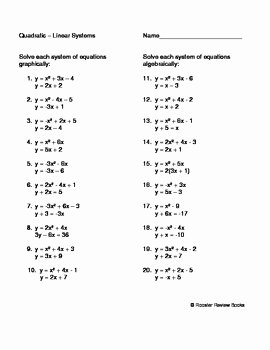 From Linear to Quadratic Worksheet Inspirational solving A Quadratic Linear System by Dawn Facciolo