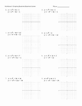 From Linear to Quadratic Worksheet Luxury Graphing Quadratic Systems Worksheets Practice Pages by