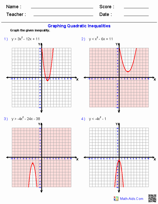 From Linear to Quadratic Worksheet New Graphing Quadratic Inequalities Worksheets
