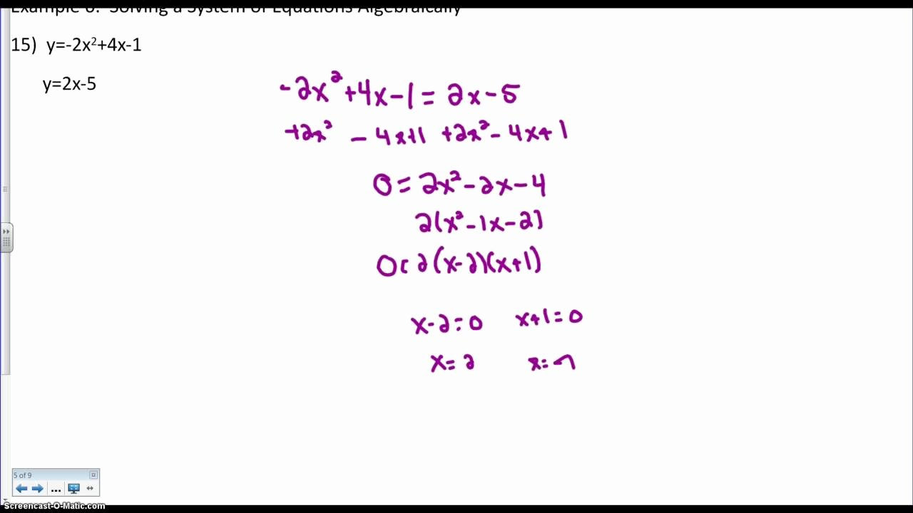 From Linear to Quadratic Worksheet Unique solving A Quadratic Linear System Algebraically