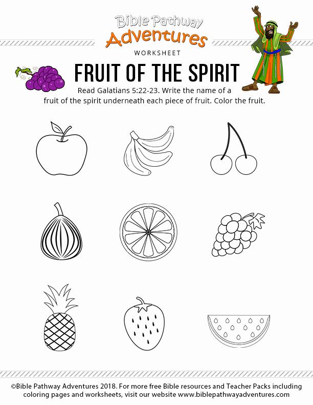 Fruits Of the Spirit Worksheet Elegant Fruit Of the Spirit – Bible Pathway Adventures