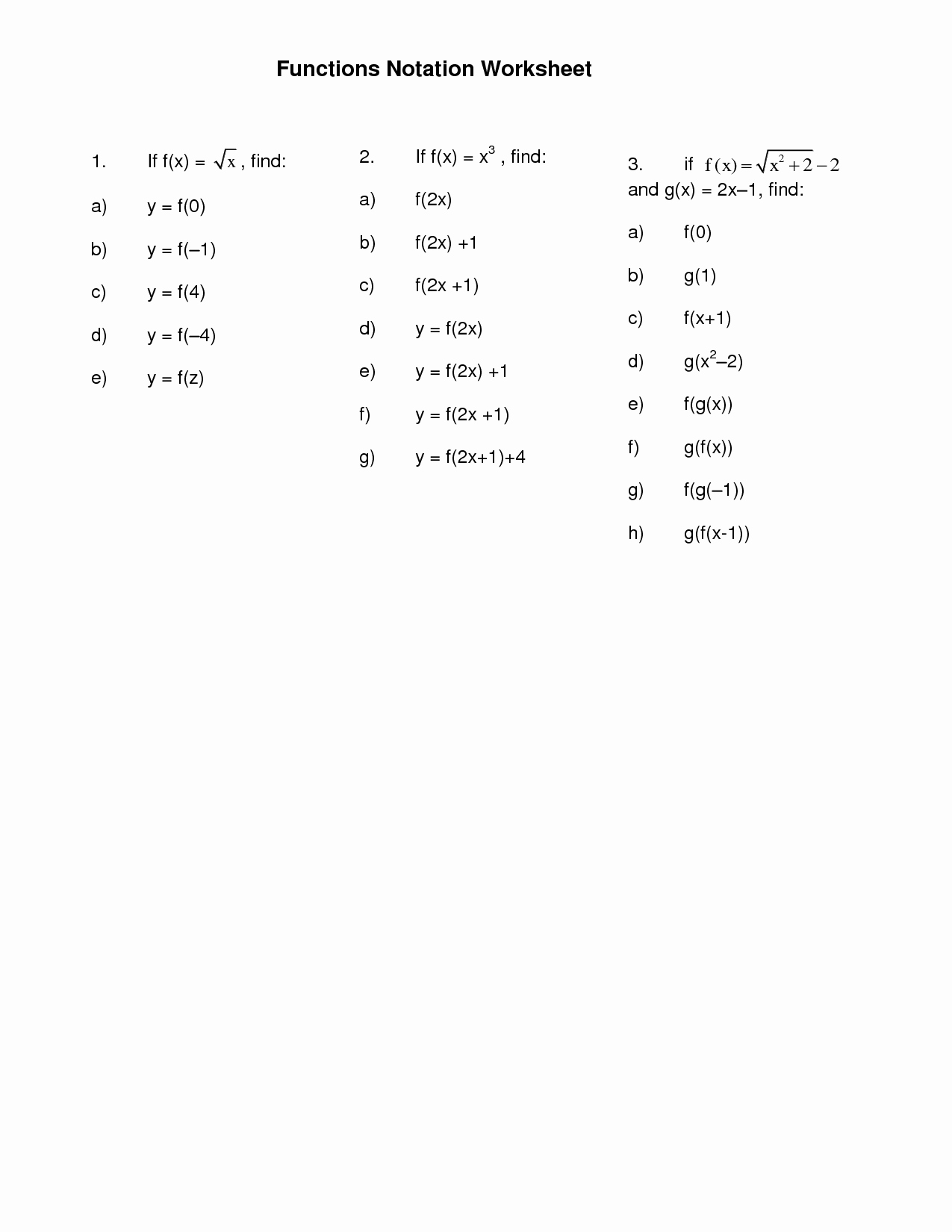 Function Notation Worksheet Answers Awesome 12 Best Of Function Notation Algebra Worksheets