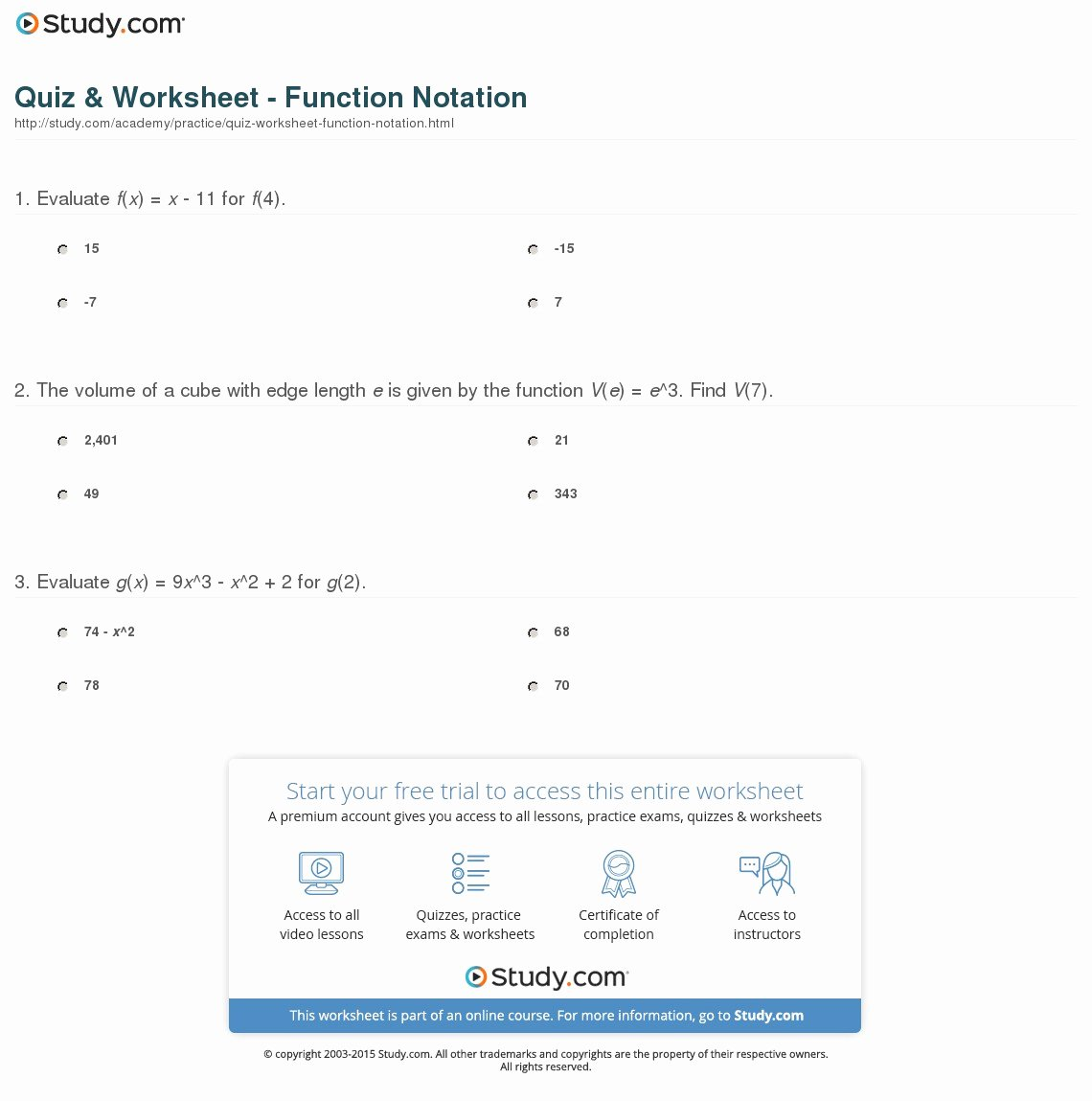Function Notation Worksheet Answers Awesome Quiz & Worksheet Function Notation