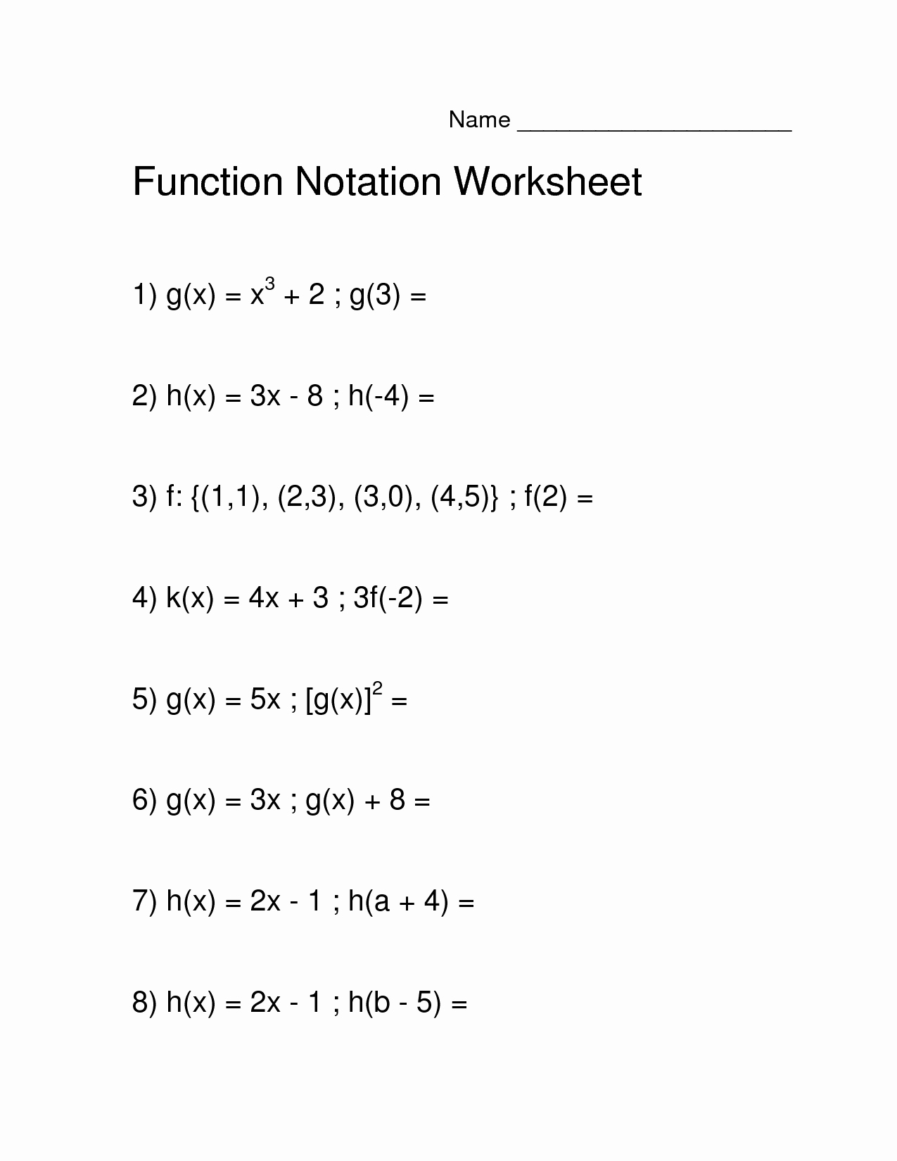 Function Notation Worksheet Answers Beautiful 12 Best Of Function Notation Algebra Worksheets