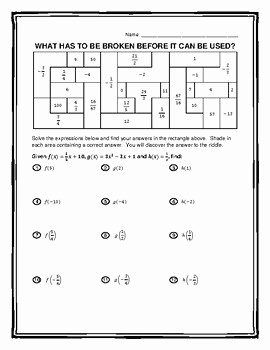 Function Notation Worksheet Answers Best Of Function Notation Riddle and Coloring Worksheet 2 by Math