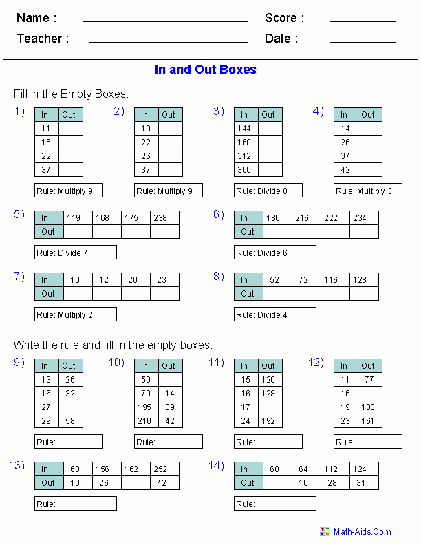 Function Tables Worksheet Pdf Luxury Function Table Worksheets