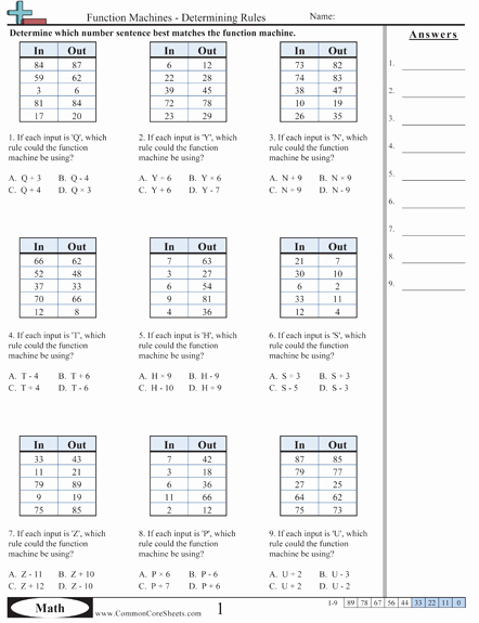 Function Tables Worksheet Pdf Unique Patterns & Function Machine Worksheets Free Printable