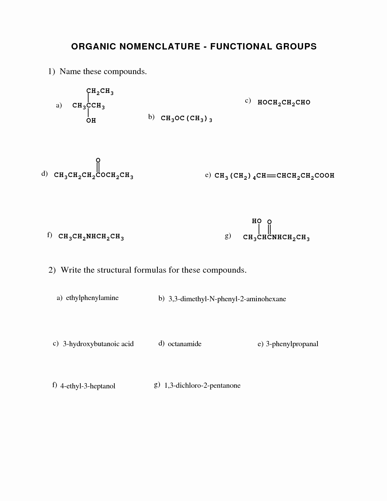 Functional Group Practice Worksheet Beautiful 15 Best Of Naming Functional Groups Practice