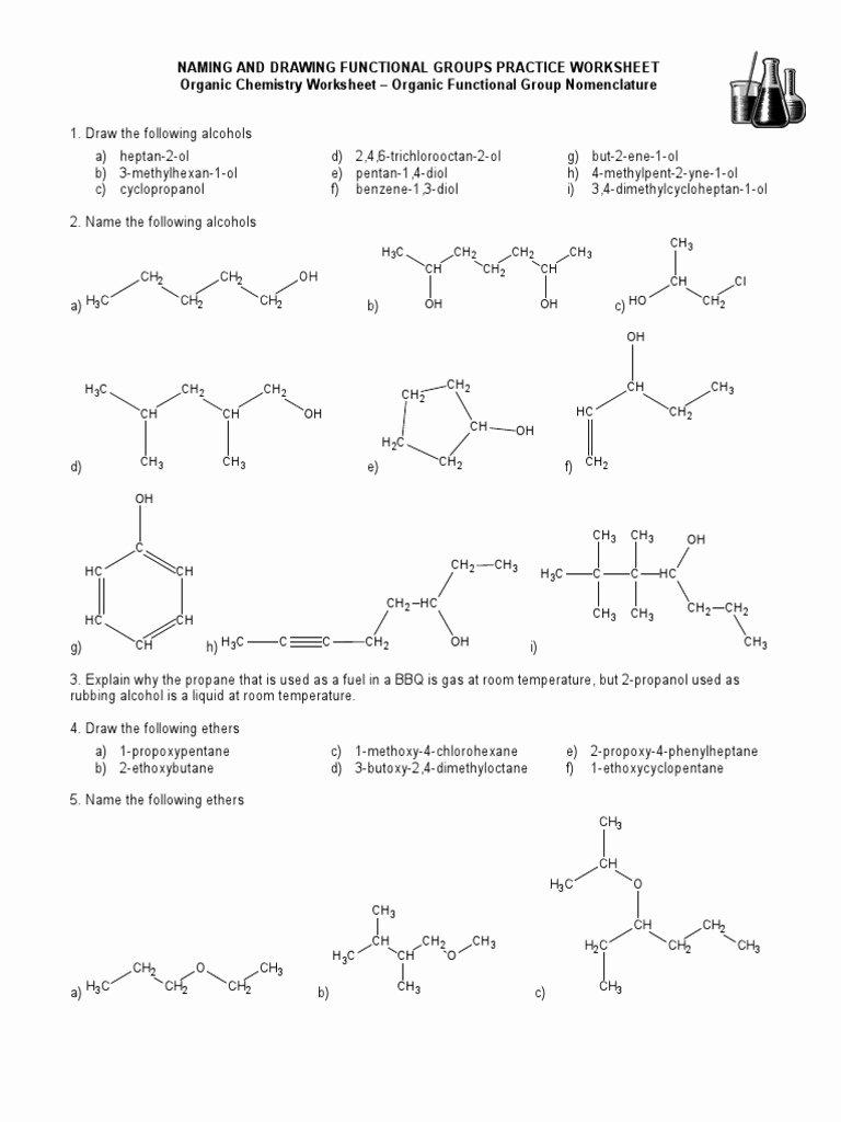 Functional Group Practice Worksheet Elegant 15 Naming and Drawing Functional Groups Practice Worksheet