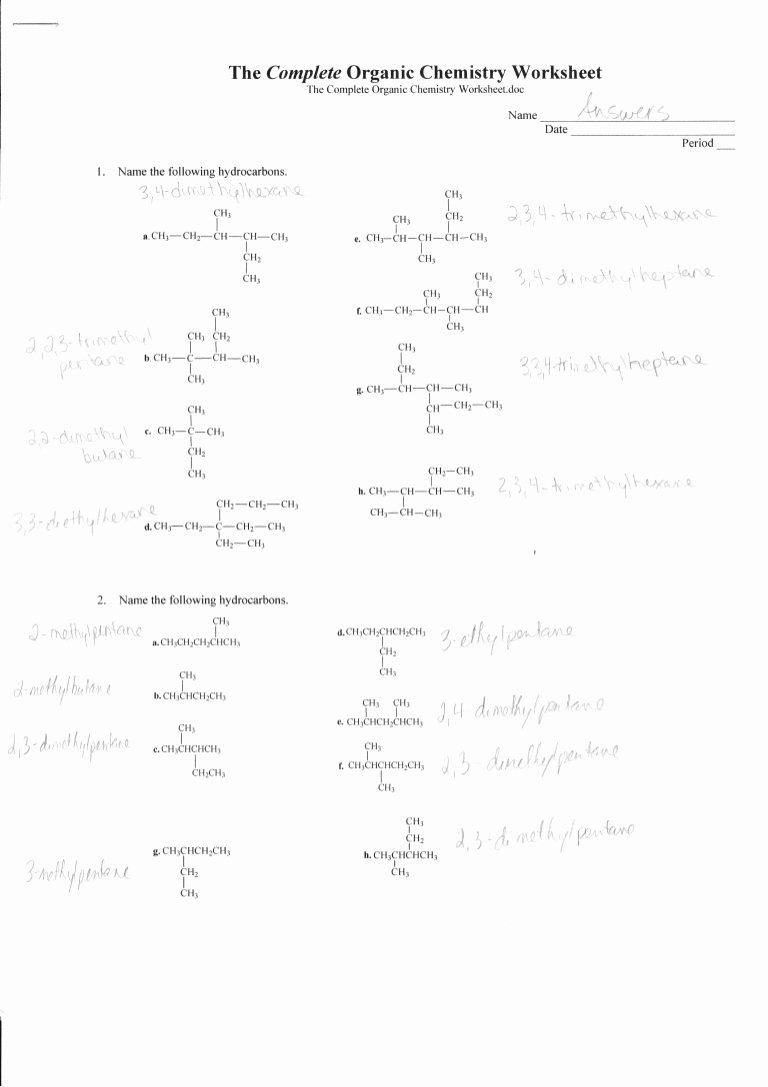 Functional Group Practice Worksheet Fresh Plete organic Chemistry Worksheet Answers