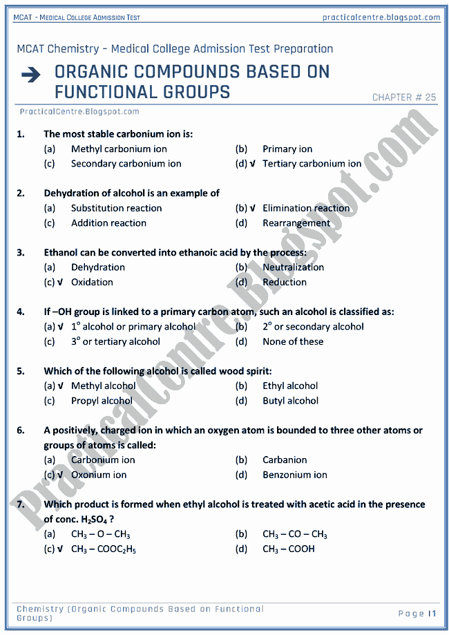 Functional Group Practice Worksheet Lovely Practical Centre Mcat Chemistry [organic Pounds Based