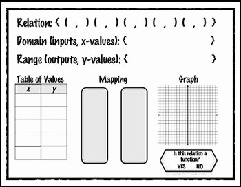 Functions and Relations Worksheet Awesome Relations & Functions Representations Mat Mapping Table
