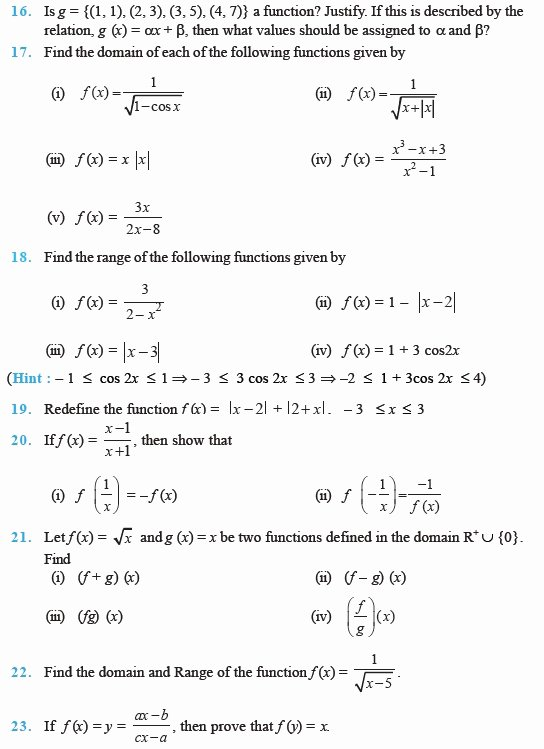 Functions and Relations Worksheet Elegant Class 11 Important Questions for Maths – Relations and