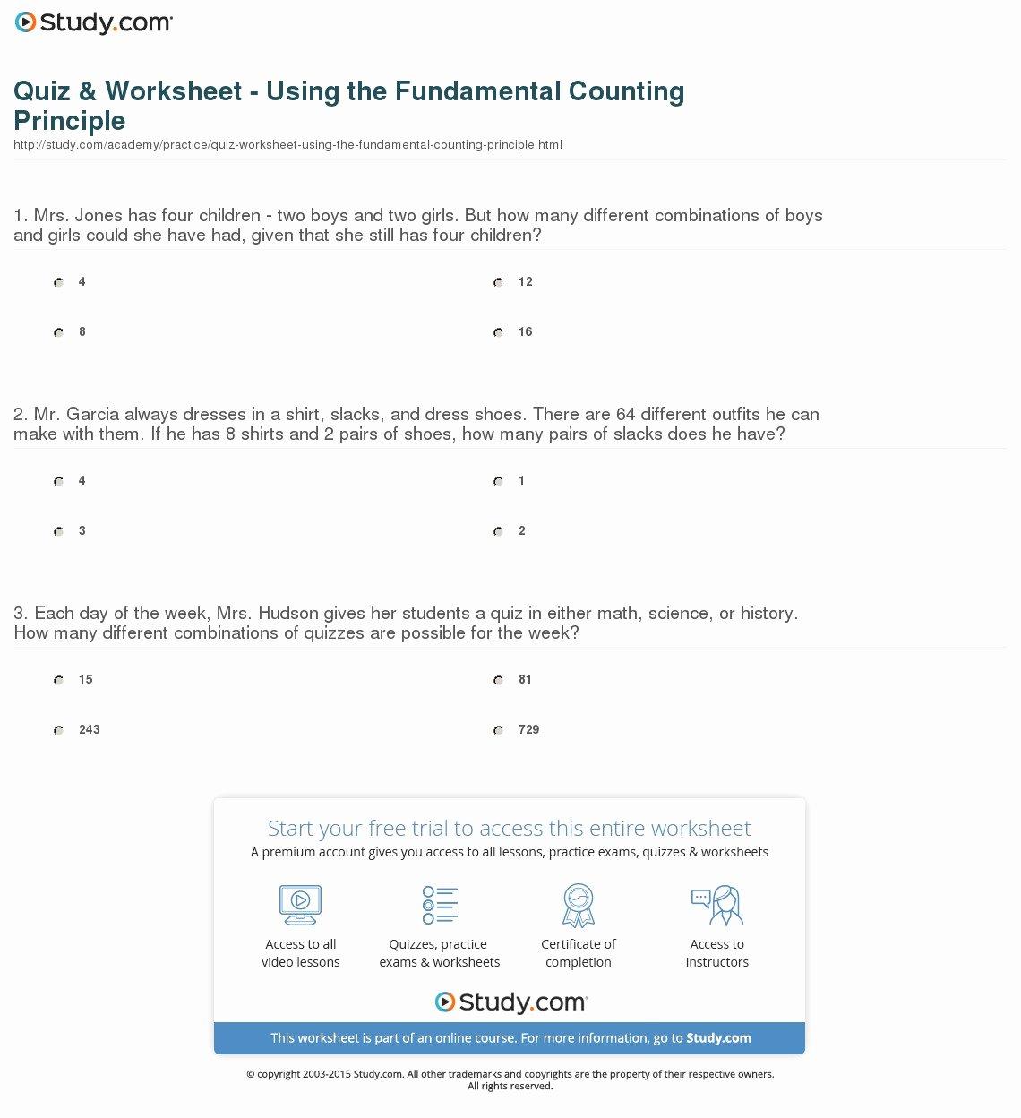 Fundamental Counting Principle Worksheet Inspirational New 878 Counting Principle Worksheets