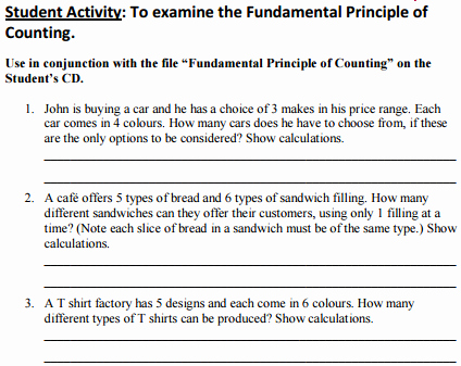 Fundamental Counting Principle Worksheet New Project Maths