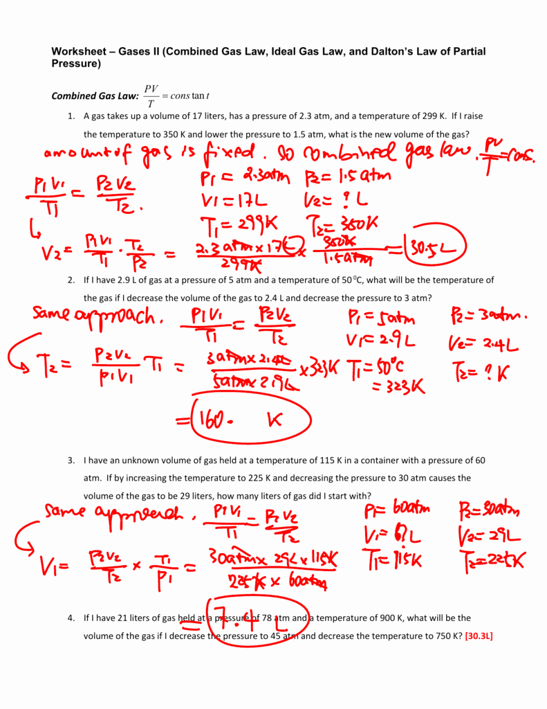 Gas Variables Worksheet Answers Best Of Worksheet Bined Gas Law Worksheet Answers Worksheet