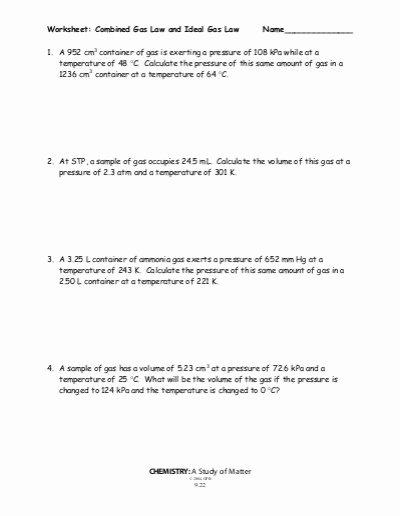 Gas Variables Worksheet Answers Fresh 25 Best Chemistry Gas Laws Worksheet Answers