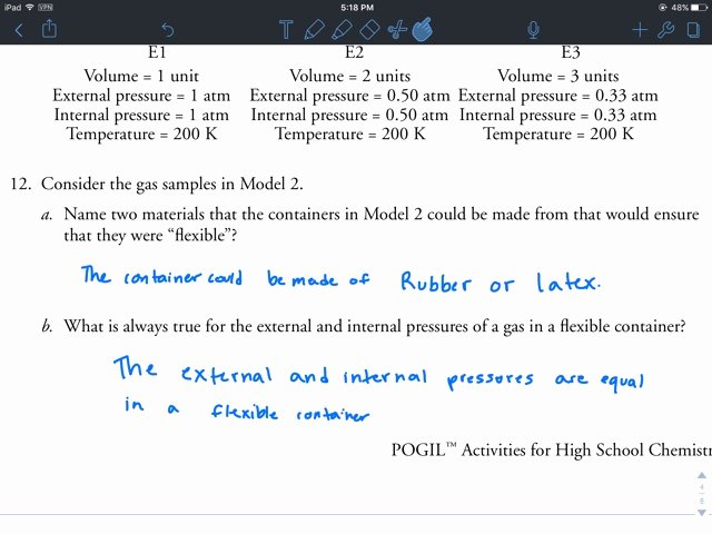 Gas Variables Worksheet Answers Lovely Hailey Calkins Chemistry 3 Gas Variables Pogil
