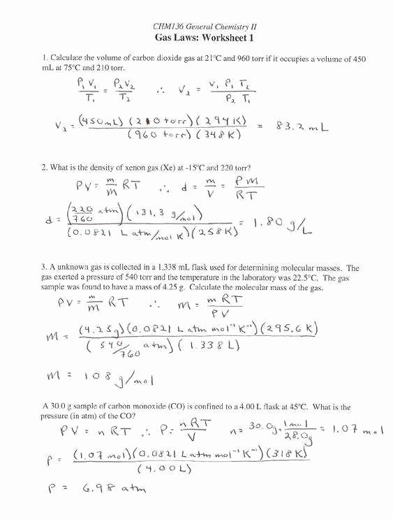 Gas Variables Worksheet Answers Unique Gas Stoichiometry Worksheet Answers