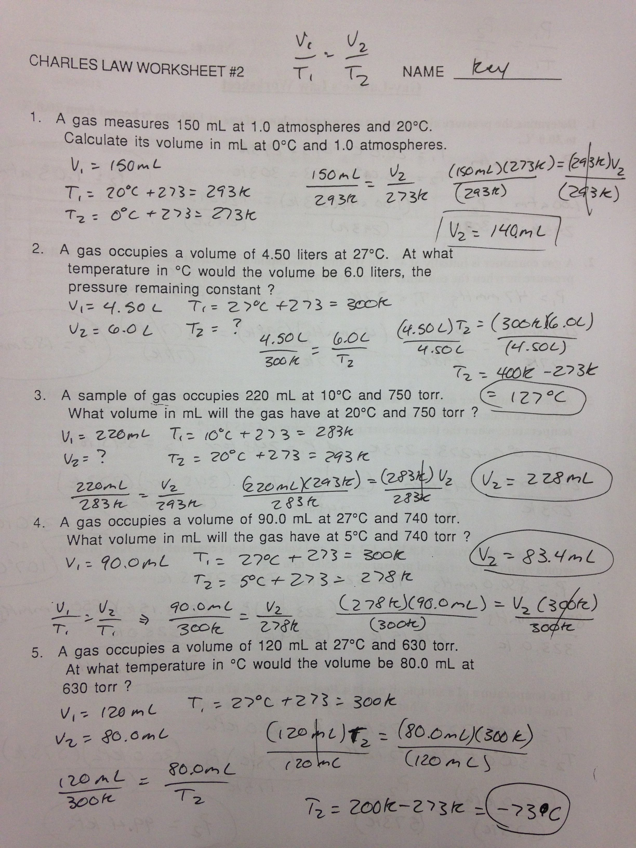 Gas Variables Worksheet Answers Unique Worksheet More Boyles Law and Charless Law Answer Key