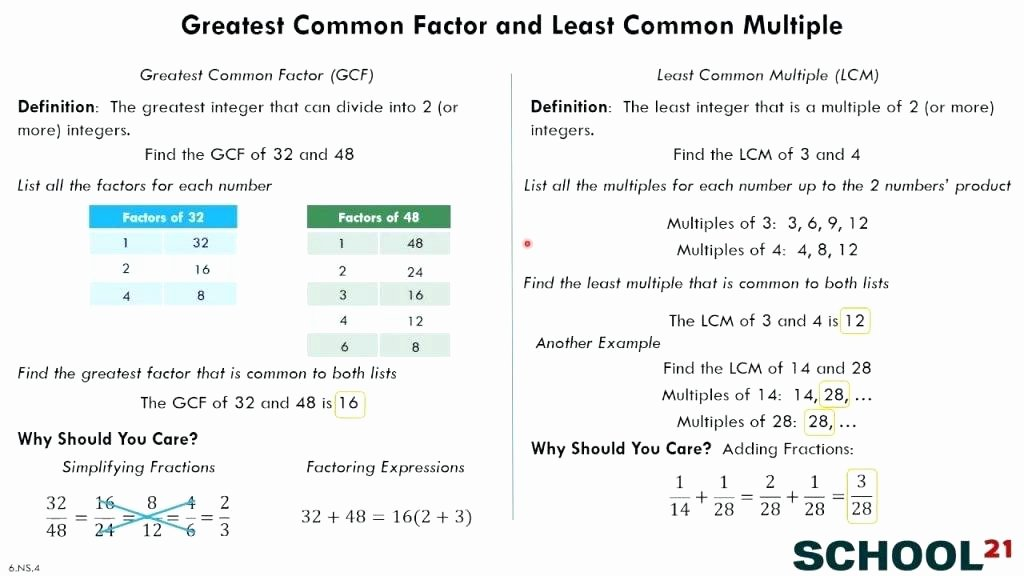 Gcf and Lcm Worksheet Fresh and Worksheets Prettier Hands Build It Least Multiple