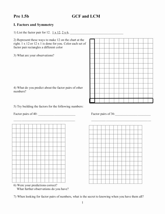 Gcf and Lcm Worksheet Fresh Gcf and Lcm Worksheet for 5th 6th Grade