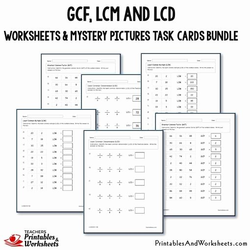 Gcf and Lcm Worksheet Lovely Gcf Lcm and Lcd Task Cards and Worksheets Bundle