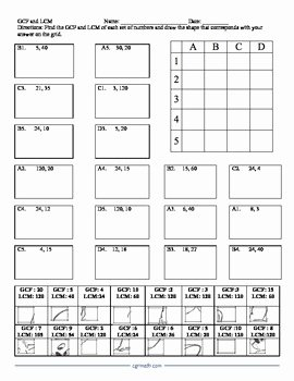 Gcf and Lcm Worksheet New Gcf and Lcm Puzzle Activity Worksheet by Cgr Educational