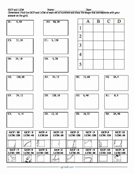 Gcf and Lcm Worksheet New Gcf and Lcm Puzzle Activity Worksheet