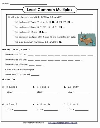 Gcf and Lcm Worksheet New Least Mon Multiple Lcm Worksheets