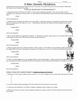 Gene and Chromosome Mutation Worksheet New Mutations Worksheet