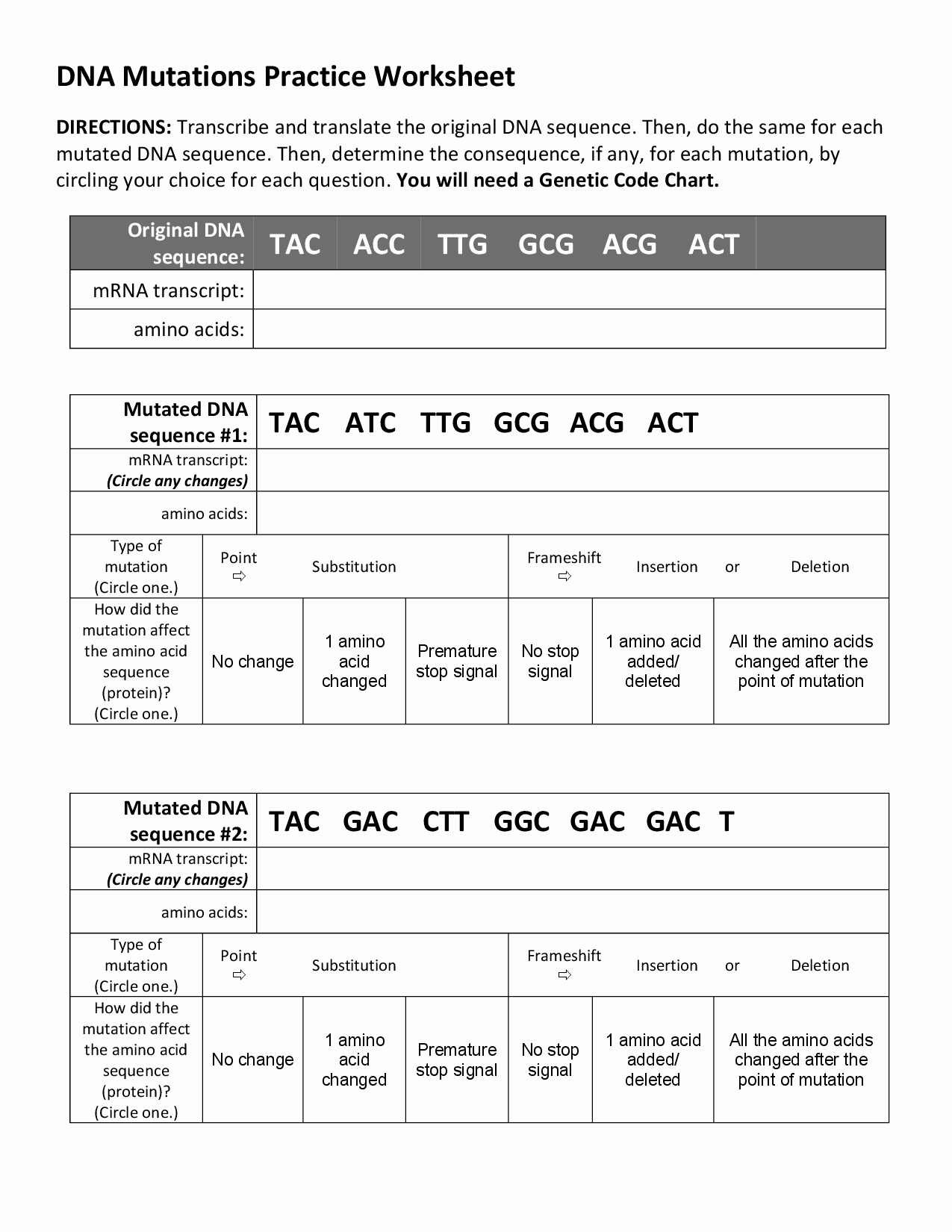 Genetic Mutation Worksheet Answer Key Luxury 15 Best Of Dna Mutations Worksheet High School