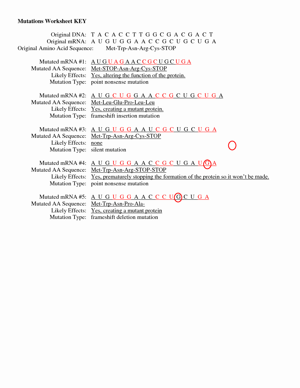 Genetic Mutation Worksheet Answer Key Luxury 19 Best Of the Genetic Code Worksheet Answers