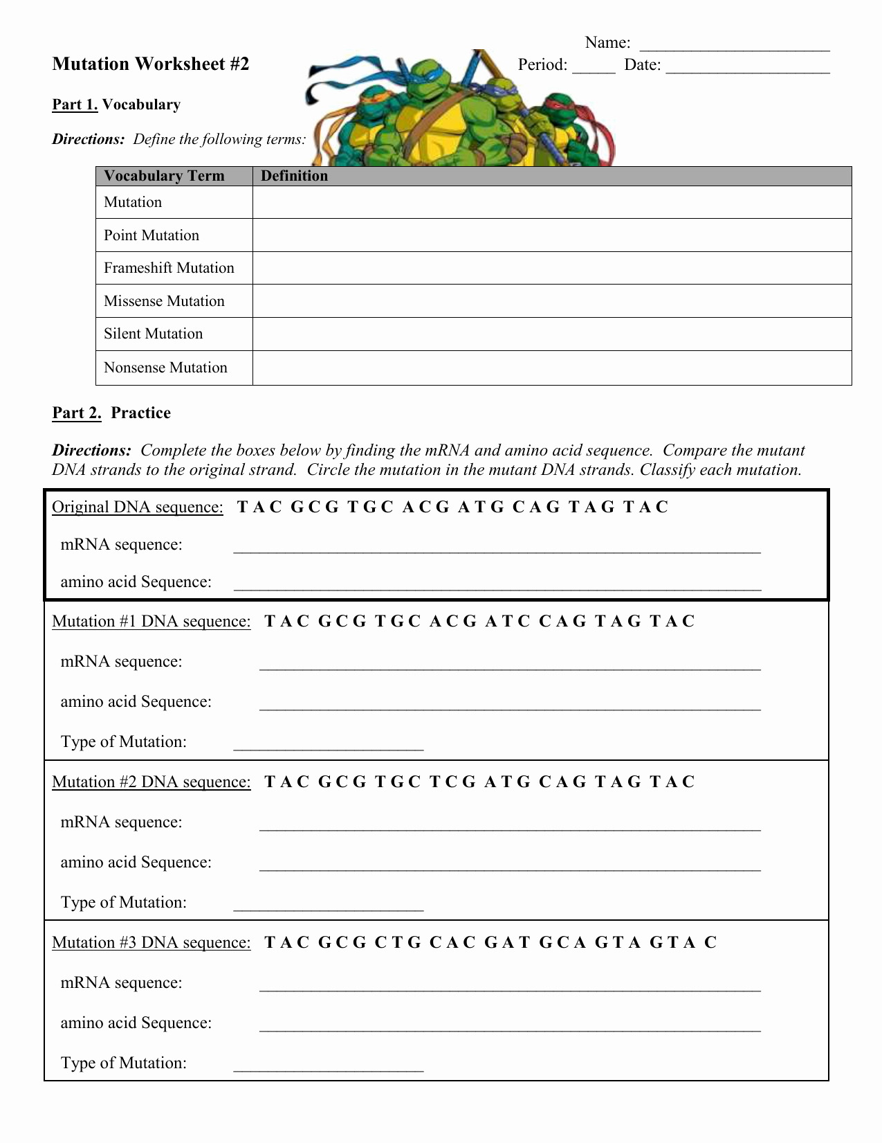 Genetic Mutation Worksheet Answer Key Unique Genetic Mutation Worksheet Answer Key
