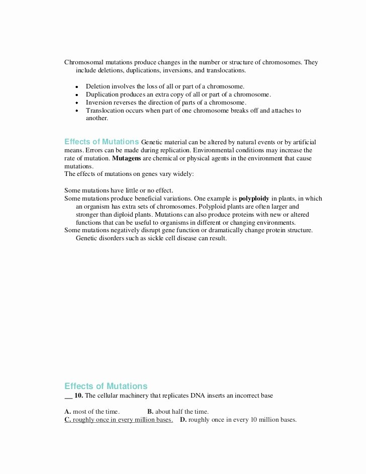 Genetic Mutations Worksheet Answer Key Fresh Worksheet 13 3 Mutations Answers Breadandhearth