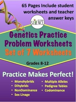 Genetics Practice Problem Worksheet Fresh Genetics Practice Problem Worksheet Bundle by Amy Brown