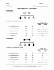Genetics Practice Problems Simple Worksheet Elegant Genetics Practice 4 Pedigrees 9th 12th Grade Worksheet