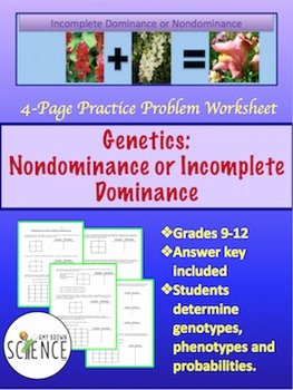 Genetics Practice Problems Worksheet Fresh Genetics Practice Problems Worksheet In Plete Dominance