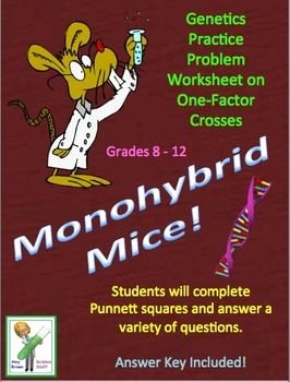 "Genetics Practice Problems Worksheet Inspirational Free Genetics Practice Problem Worksheet ""monohybrid Mice"